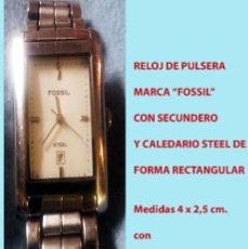 Relojes - Fossil: RELOJ MARCA FOSSIL STEEL, SECUNDERO, CALENDARIO CON PULSERA ORIGINAL.SEMINUEVO.. Lote 178270216
