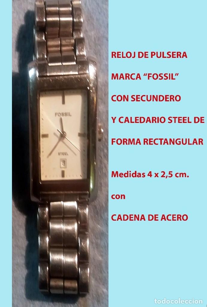 Relojes - Fossil: RELOJ MARCA FOSSIL STEEL, SECUNDERO, CALENDARIO CON PULSERA ORIGINAL.SEMINUEVO. - Foto 2 - 178270216