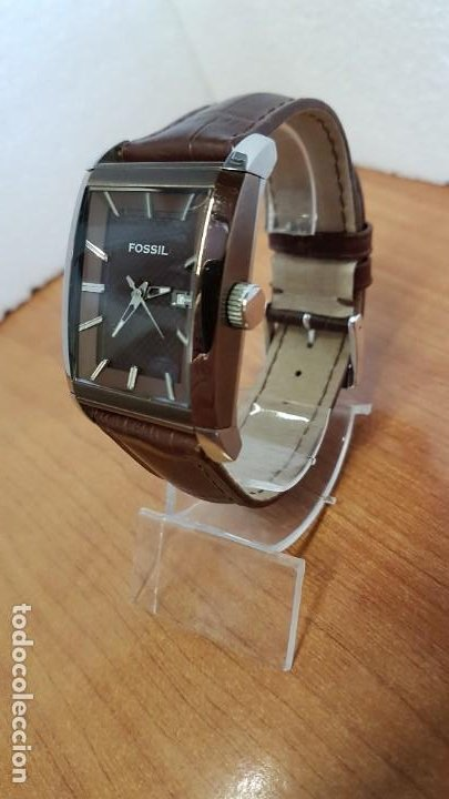 Relojes - Fossil: Reloj caballero FOSSIL de cuarzo en acero con calendario a las tres horas, correa cuero marrón. - Foto 2 - 199207937
