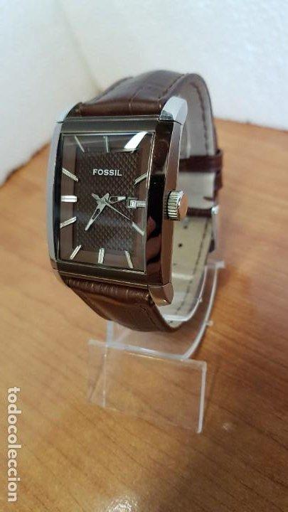 Relojes - Fossil: Reloj caballero FOSSIL de cuarzo en acero con calendario a las tres horas, correa cuero marrón. - Foto 4 - 199207937