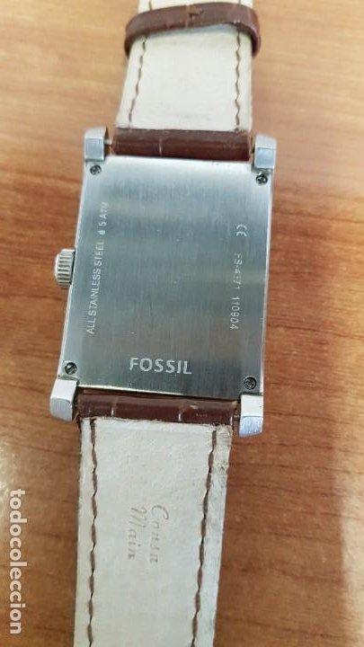Relojes - Fossil: Reloj caballero FOSSIL de cuarzo en acero con calendario a las tres horas, correa cuero marrón. - Foto 9 - 199207937