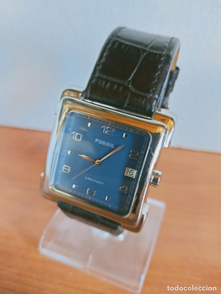 Relojes - Fossil: Reloj caballero FOSSIL de cuarzo acero con calendario a las tres horas, correa cuero negra segunda - Foto 10 - 213644068