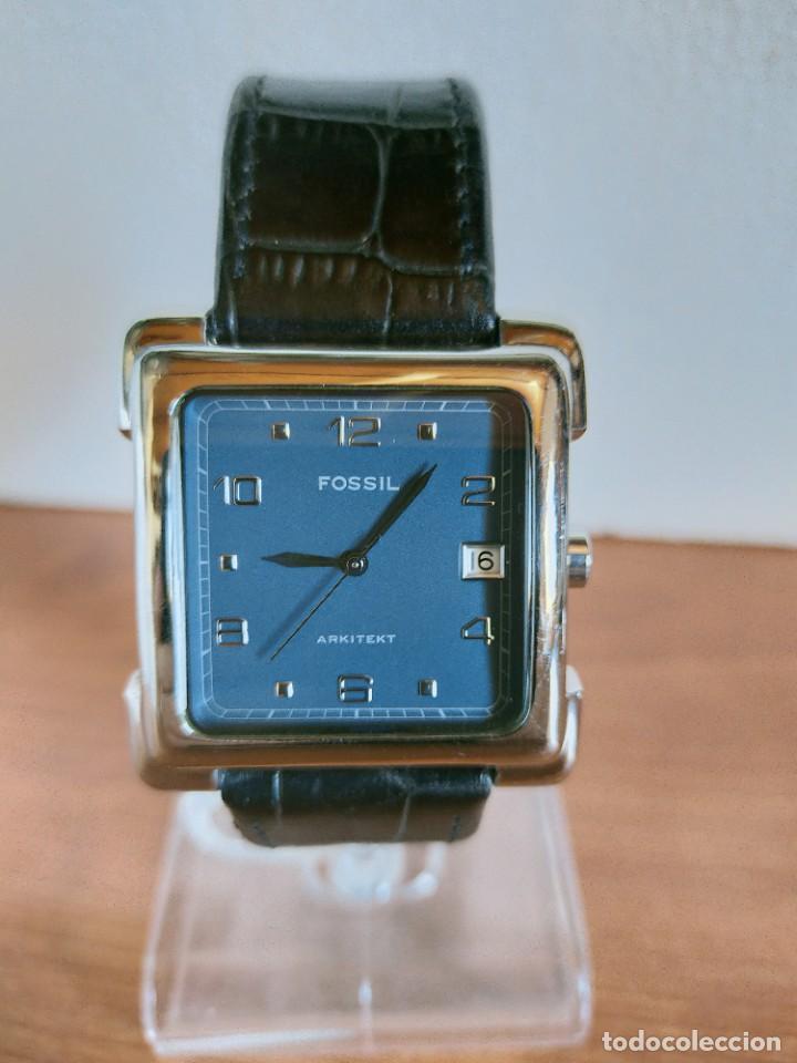 Relojes - Fossil: Reloj caballero FOSSIL de cuarzo acero con calendario a las tres horas, correa cuero negra segunda - Foto 12 - 213644068