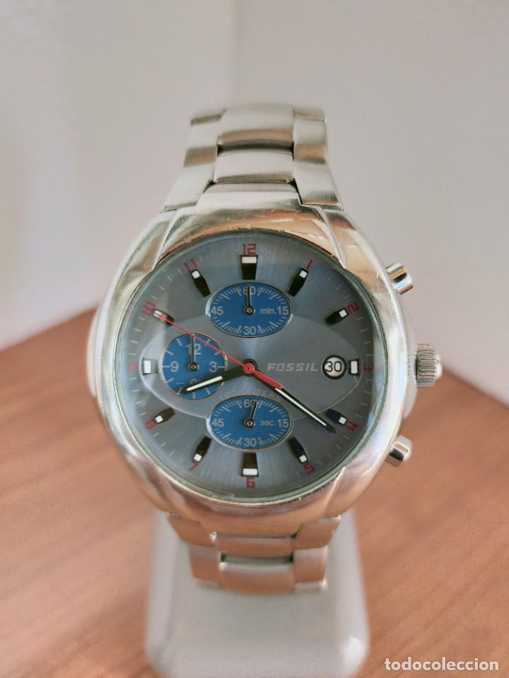 RELOJ CABALLERO CUARZO FOSSIL DE ACERO CRONOGRAFO CON TRES SUBESFERAS, ESFERA NEGRA GRIS CLARO. (Relojes - Relojes Actuales - Fossil)