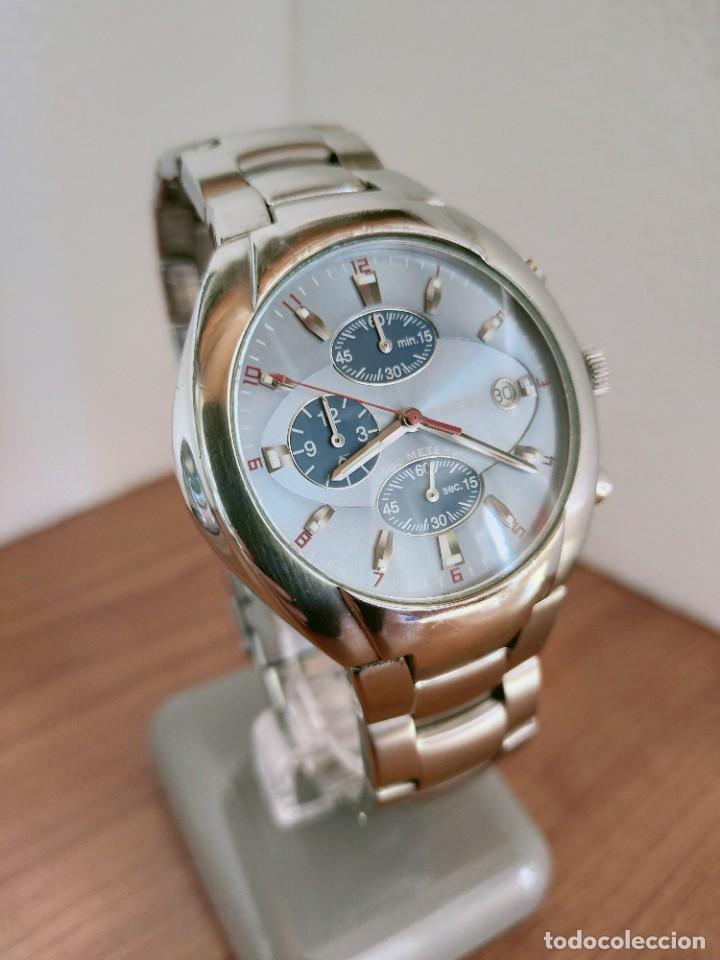 Relojes - Fossil: Reloj caballero cuarzo FOSSIL de acero cronografo con tres subesferas, esfera negra gris claro. - Foto 3 - 213801788