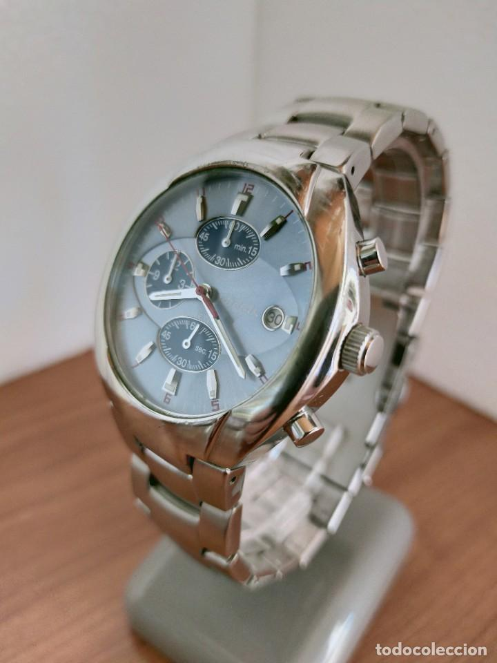 Relojes - Fossil: Reloj caballero cuarzo FOSSIL de acero cronografo con tres subesferas, esfera negra gris claro. - Foto 4 - 213801788