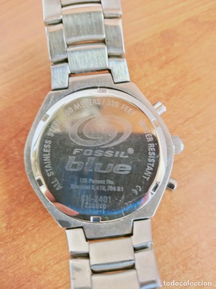 Relojes - Fossil: Reloj caballero cuarzo FOSSIL de acero cronografo con tres subesferas, esfera negra gris claro. - Foto 17 - 213801788