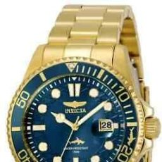 Relojes - Fossil: NEW!! INVICTA MEN'S 43MM PRO DIVER QUARTZ 3 HAND BLUE DIAL GOLD-TONE WATCH. Lote 220951750
