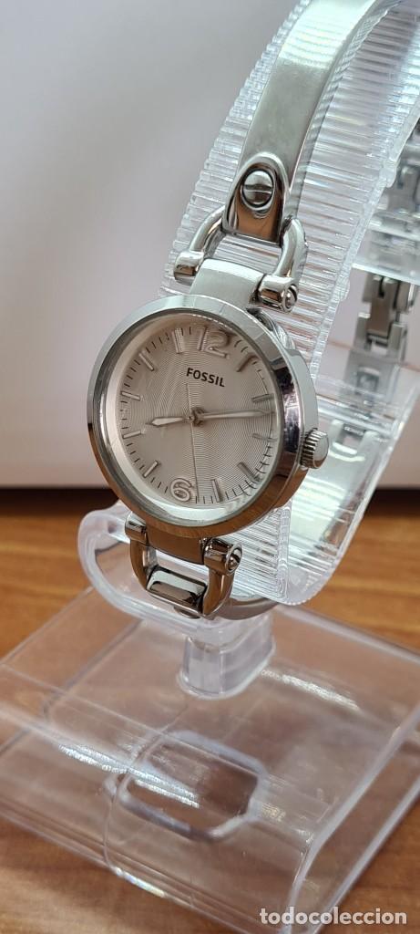 Relojes - Fossil: Reloj señora cuarzo FOSSIL de acero, esfera blanca con números acero luminiscentes, correa de acero - Foto 3 - 280873173