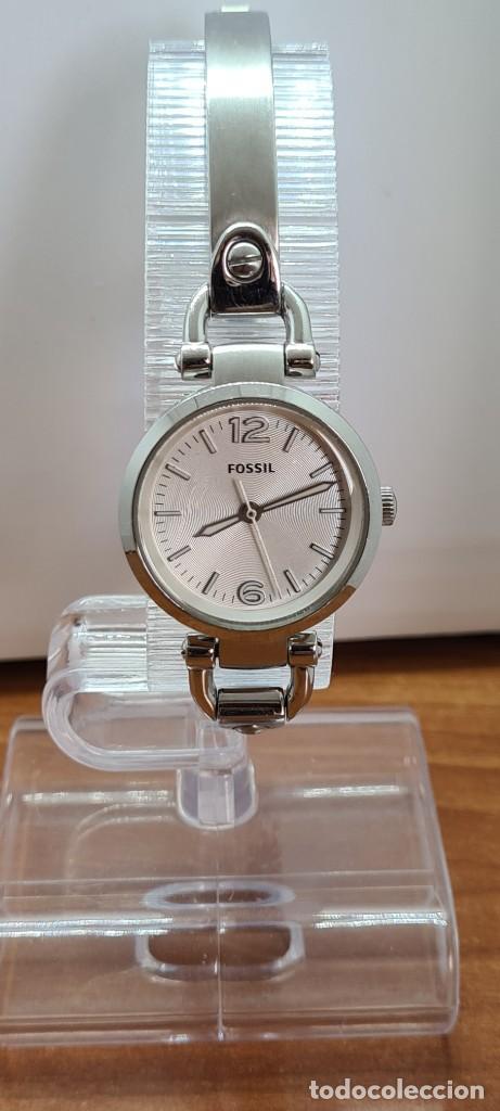 Relojes - Fossil: Reloj señora cuarzo FOSSIL de acero, esfera blanca con números acero luminiscentes, correa de acero - Foto 4 - 280873173