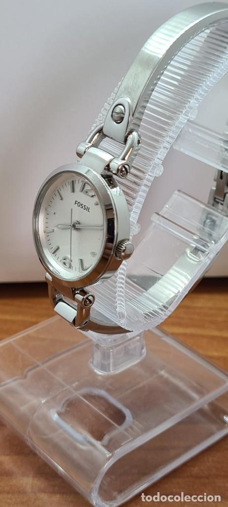 Relojes - Fossil: Reloj señora cuarzo FOSSIL de acero, esfera blanca con números acero luminiscentes, correa de acero - Foto 5 - 280873173