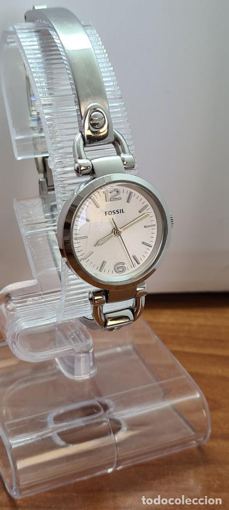 Relojes - Fossil: Reloj señora cuarzo FOSSIL de acero, esfera blanca con números acero luminiscentes, correa de acero - Foto 6 - 280873173