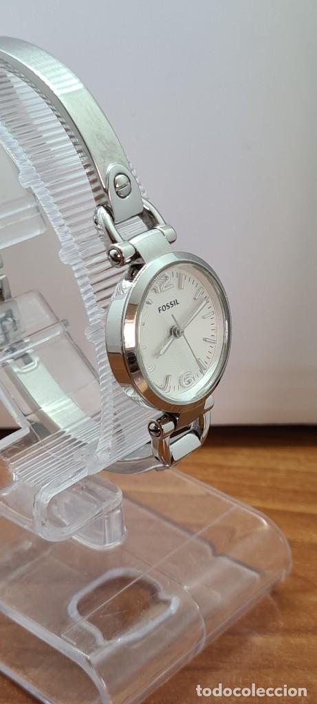 Relojes - Fossil: Reloj señora cuarzo FOSSIL de acero, esfera blanca con números acero luminiscentes, correa de acero - Foto 8 - 280873173