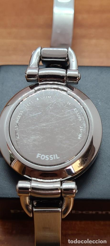 Relojes - Fossil: Reloj señora cuarzo FOSSIL de acero, esfera blanca con números acero luminiscentes, correa de acero - Foto 9 - 280873173