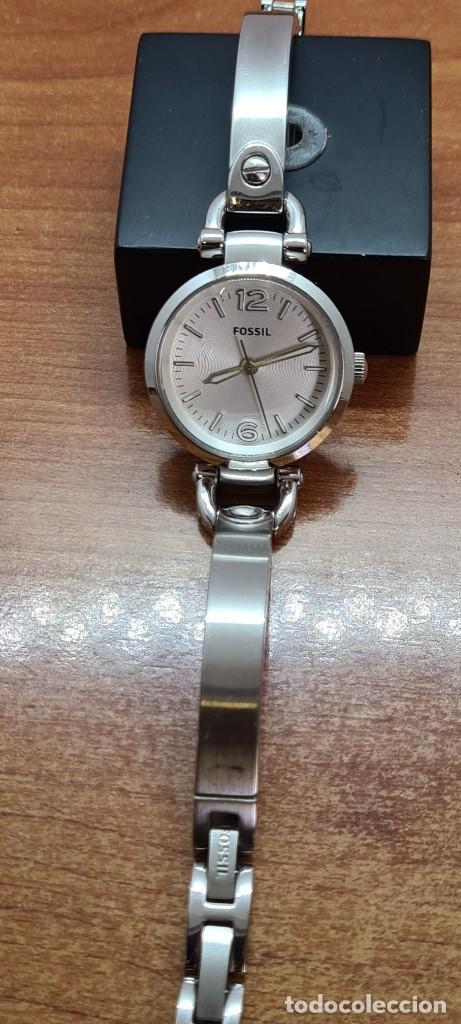 Relojes - Fossil: Reloj señora cuarzo FOSSIL de acero, esfera blanca con números acero luminiscentes, correa de acero - Foto 13 - 280873173