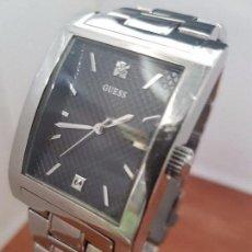 Relojes - Guess: RELOJ CABALLERO GUESS DE ACERO ESFERA NEGRA CON UNA CIRCONITA A LAS DOCE Y LAS SEIS, CORREA ACERO. Lote 95828115