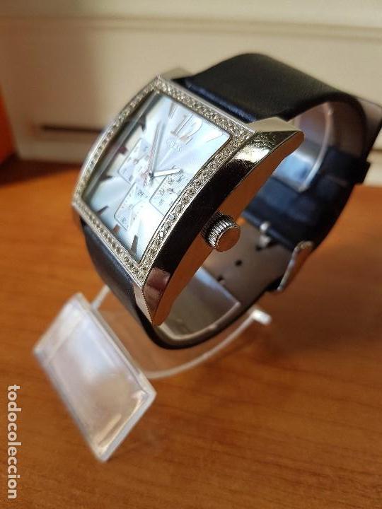 Relojes - Guess: Reloj de señora GUESS de cuarzo Elle Beauty 2004 en acero con circonios en la caja, correa cuero - Foto 3 - 105740827