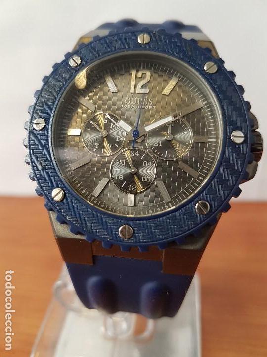 RELOJ CABALLERO GUESS CUARZO MULTIFUNCIÓN CORONA DE ROSCA, CORREA DE SILICONA ORIGINAL AZUL GUESS (Relojes - Relojes Actuales - Guess)