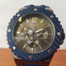 Relojes - Guess: RELOJ CABALLERO GUESS CUARZO MULTIFUNCIÓN CORONA DE ROSCA, CORREA DE SILICONA ORIGINAL AZUL GUESS . Lote 122656447