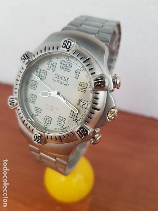 Relojes - Guess: Reloj caballero GUESS de cuarzo acero con calendario a las tres, bisel giratorio con correa de acero - Foto 2 - 129181991