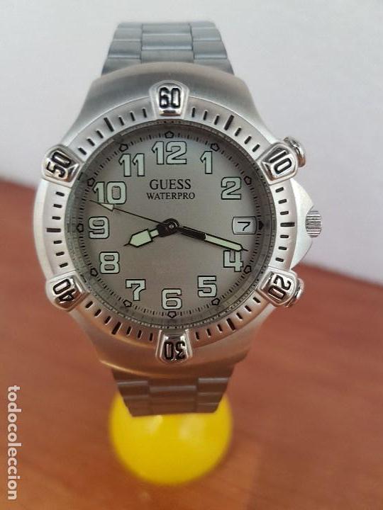 Relojes - Guess: Reloj caballero GUESS de cuarzo acero con calendario a las tres, bisel giratorio con correa de acero - Foto 12 - 129181991