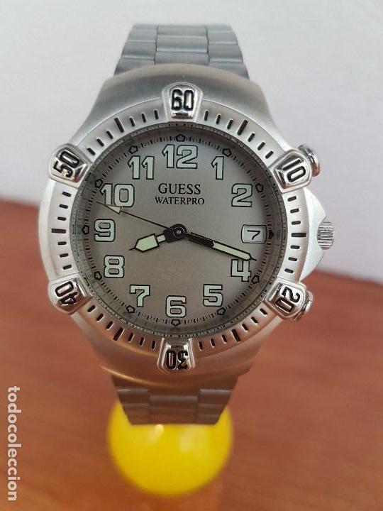 RELOJ CABALLERO GUESS DE CUARZO ACERO CON CALENDARIO A LAS TRES, BISEL GIRATORIO CON CORREA DE ACERO (Relojes - Relojes Actuales - Guess)