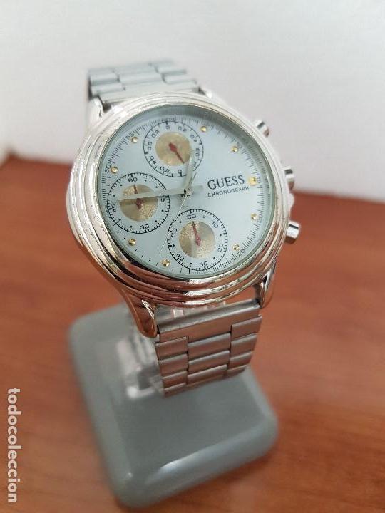 Relojes - Guess: Reloj caballero GUESS cronografo de cuarzo con tres subesferas en acero, correa de acero nueva - Foto 4 - 138650050