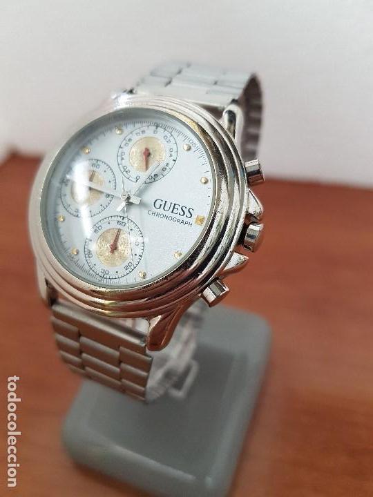 Relojes - Guess: Reloj caballero GUESS cronografo de cuarzo con tres subesferas en acero, correa de acero nueva - Foto 5 - 138650050