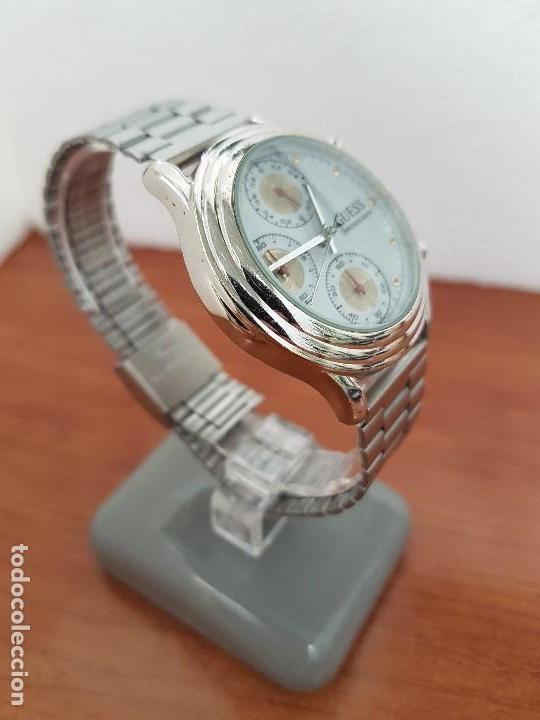 Relojes - Guess: Reloj caballero GUESS cronografo de cuarzo con tres subesferas en acero, correa de acero nueva - Foto 7 - 138650050