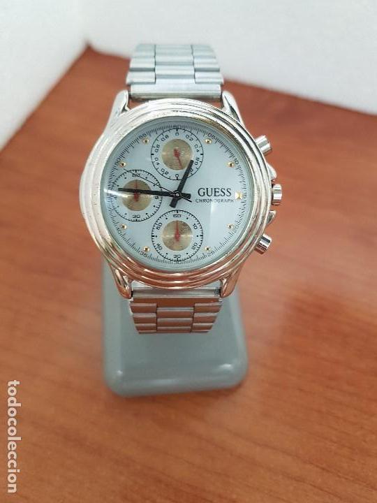 Relojes - Guess: Reloj caballero GUESS cronografo de cuarzo con tres subesferas en acero, correa de acero nueva - Foto 8 - 138650050