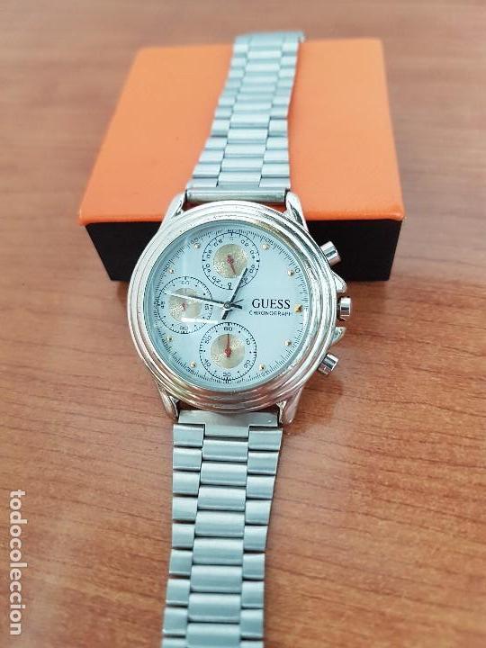 Relojes - Guess: Reloj caballero GUESS cronografo de cuarzo con tres subesferas en acero, correa de acero nueva - Foto 11 - 138650050