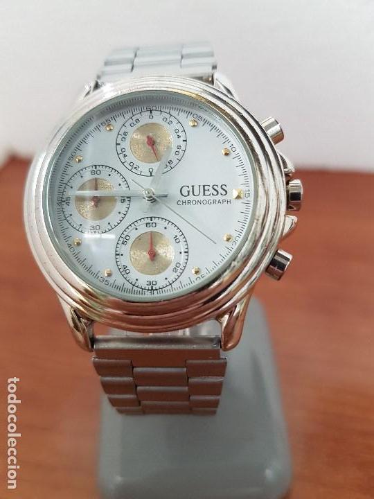 Relojes - Guess: Reloj caballero GUESS cronografo de cuarzo con tres subesferas en acero, correa de acero nueva - Foto 12 - 138650050