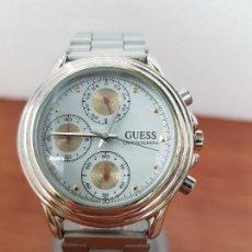 Relojes - Guess: RELOJ CABALLERO GUESS CRONOGRAFO DE CUARZO CON TRES SUBESFERAS EN ACERO, CORREA DE ACERO NUEVA . Lote 138650050