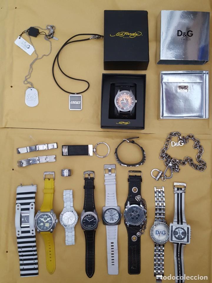 EXTRAORDINARIO LOTE DE RELOJES Y OTROS GUESS, D&G, DIESEL, ARMANI, VANS, ED HARDY, ANTONI MORATO, (Relojes - Relojes Actuales - Guess)