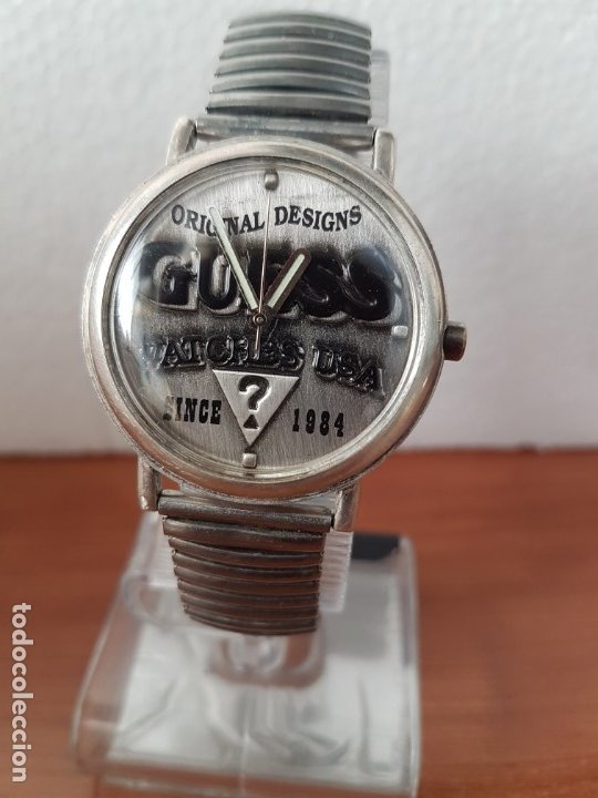 RELOJ CABALLERO GUESS DE CUARZO EN ACERO, ESFERA MUY BONITA MIRAR FOTOS CON CORREA ACERO DE ESTIRAR, (Relojes - Relojes Actuales - Guess)