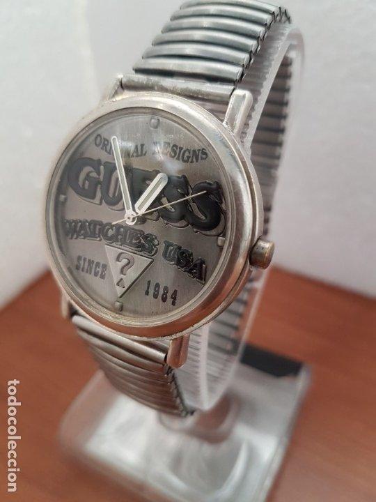 Relojes - Guess: Reloj caballero GUESS de cuarzo en acero, esfera muy bonita mirar fotos con correa acero de estirar, - Foto 2 - 172548387