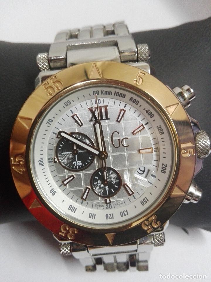RELOJ GC GUESS COLLECTION 46002G. CRONOGRAFO EN ACERO, DIAL PLATA.SUMERGIBLE 100M.COMO NUEVO. 45MM (Relojes - Relojes Actuales - Guess)