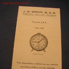 Strumenti di orologiaio: FOLLETO PROPAGANDISTICO DE DESPERTADO I. R. E. - DE: J. G. GIROT, S. A. E. - MIDE 17 X 10 CM.. Lote 27205279