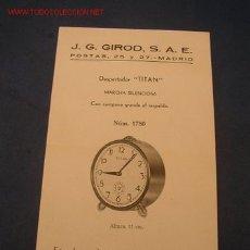 Strumenti di orologiaio: FOLLETO PROPAGANDISTICO DE DESPERTADO TITAN. - DE: J. G. GIROT, S. A. E. - MIDE 17 X 10 CM.. Lote 27205280