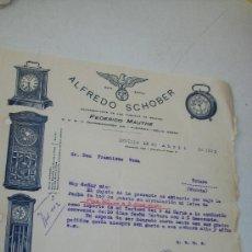 Herramientas de relojes: ANTIGUA FACTURA(15/04/1922) DE : ALFREDO SCHOBER, REPRESENTANTE DE LAS FÁBRICAS DE RELOJES . Lote 27751340