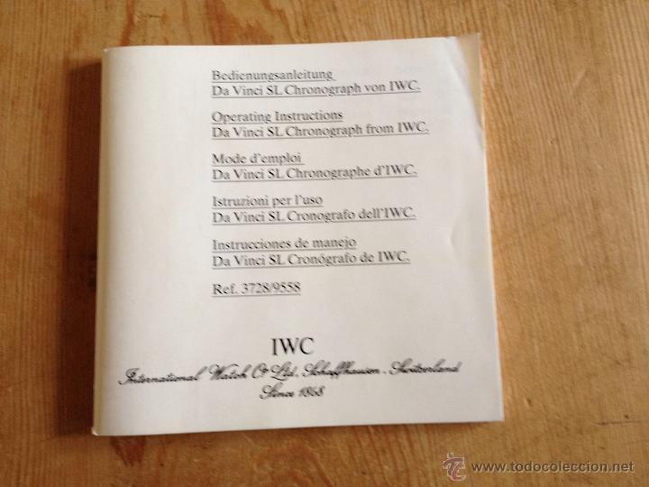 MANUAL DE INSTRUCCIONES PARA RELOJ IWC DAVINCI CRONOGRAFO (Relojes - Herramientas y Útiles de Relojero )