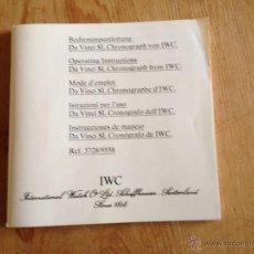 Herramientas de relojes: MANUAL DE INSTRUCCIONES PARA RELOJ IWC DAVINCI CRONOGRAFO. Lote 39627213