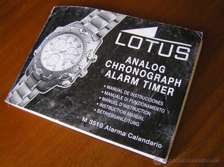 MANUAL DE INSTRUCCIONES DEL RELOJ LOTUS ANALOG CHRONOGRAPH ALARM TIMER M3510 WATCH (Relojes - Herramientas y Útiles de Relojero )