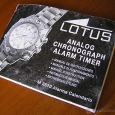 Herramientas de relojes: MANUAL DE INSTRUCCIONES DEL RELOJ LOTUS ANALOG CHRONOGRAPH ALARM TIMER M3510 WATCH. Lote 39981762