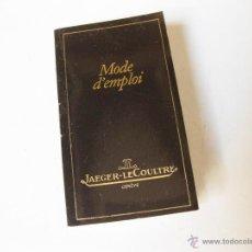Strumenti di orologiaio: PEQUEÑO FOLLETO DE INSTRUCCIONES DEL JAEGER LECOULTRE. Lote 147019998
