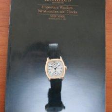 Strumenti di orologiaio: CATALOGO DE RELOJES ALTA GAMA SUBASTAS SOTHEBY´S: IMPORTANT WATCHES, WRISTWATCHES AND CLOCKS. Lote 55027672