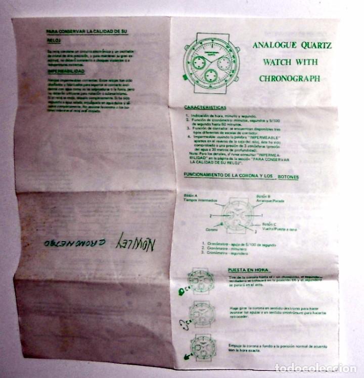 MANUAL INSTRUCCIONES ANTIGUO VINTAGE. CRONOGRAFO CRONOMETRO RELOJ NOWLEY. BOLSA ORIGINAL (Relojes - Herramientas y Útiles de Relojero )