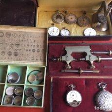 Herramientas de relojes: LOTE DE TALLER ANTIGUO DE RELOJERO HOROLOGÍA. Lote 83375327