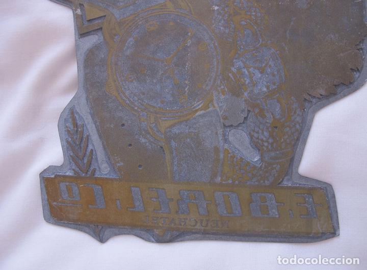 Herramientas de relojes: PLANCHA DE IMPRENTA GRANDE RELOJ ERNEST BOREL SUIZA ANTIGUA - Foto 3 - 121547719