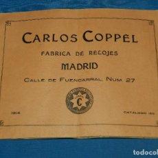 Herramientas de relojes: (BF) CATALOGO RELOJES - CARLOS COPPEL , FABRICA DE RELOJES , MADRID 1914, MUY ILUSTRADO. Lote 124929279
